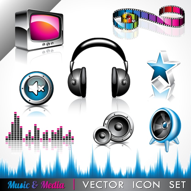 Music icons collection Free Vector