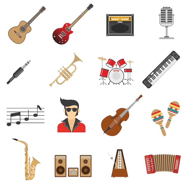 Music icons flat Free Vector