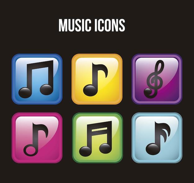 Музыка иконки на черном фоне векторные иллюстрации Premium векторы