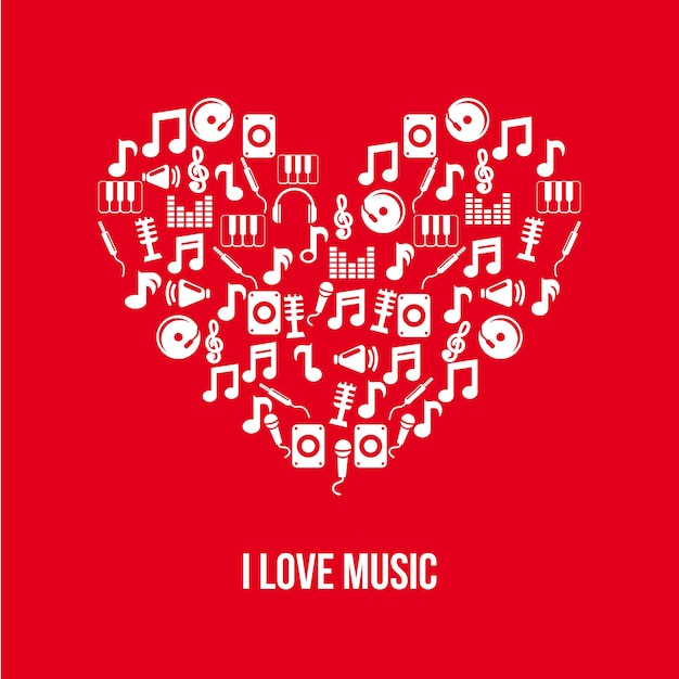 Music icons over red background vector illustration Premium Vector