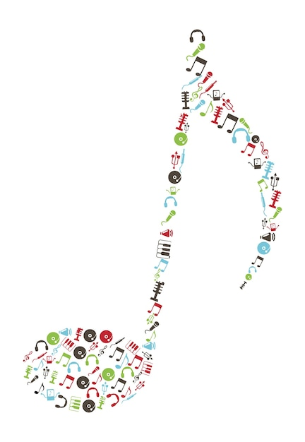Music icons over white background vector illustration Premium Vector