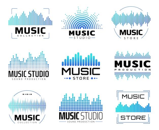 Музыкальные значки с эквалайзерами, символы со звуком или радиоволнами или линиями звуковых частот. Premium векторы