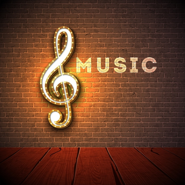 Music illustration with violin key lighting signboard on brick wall background. Premium Vector