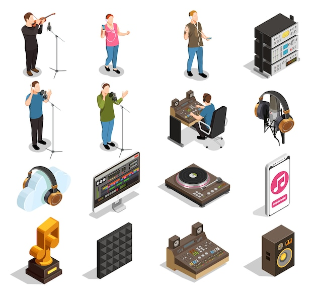Music industry isometric icons set with recording studio symbols isolated Free Vector
