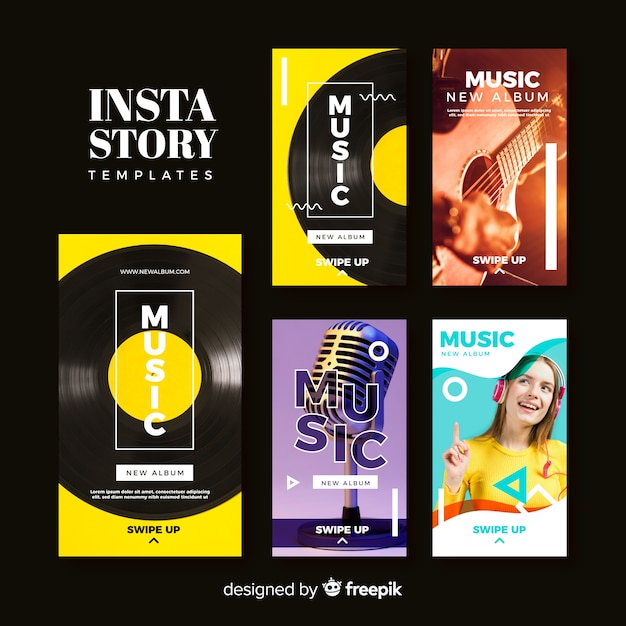 Music instagram stories template collection Free Vector