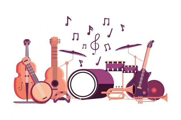 Music instrument cartoon Premium Vector