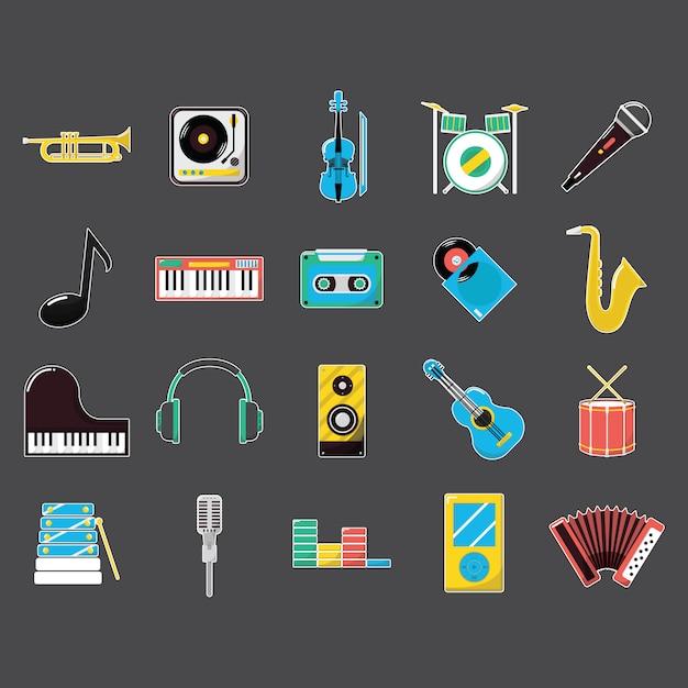 Musica icone strumento di raccolta Vettore gratuito