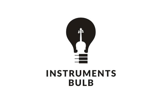 音楽楽器と電球のロゴ Premiumベクター
