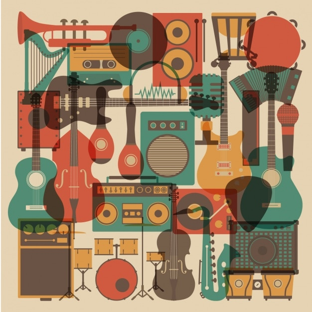 Music instruments collection Free Vector