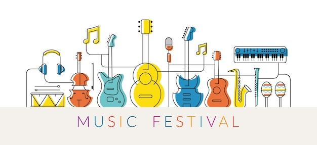Музыкальные инструменты иллюстрации, дизайн линии Premium векторы