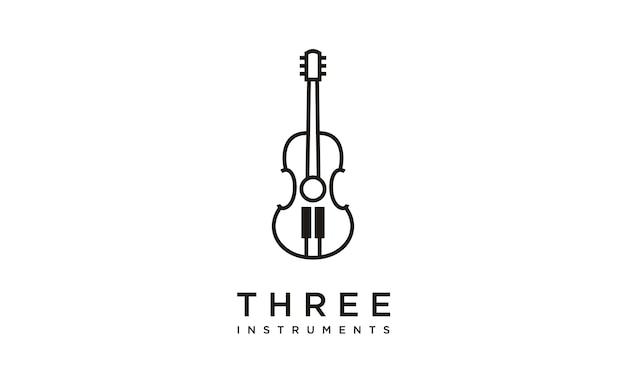 楽器のロゴデザイン Premiumベクター