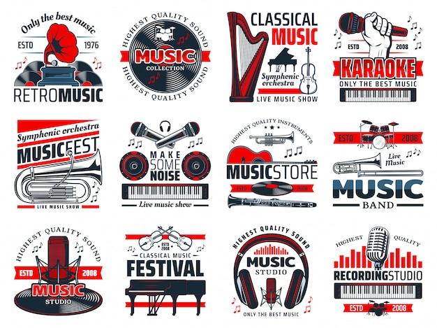 Music instruments, recording studio microphones Premium Vector