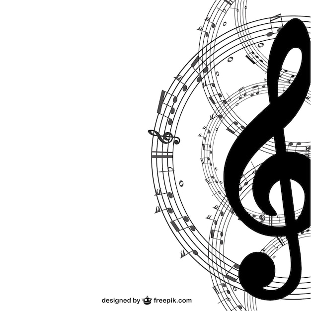Music key and notes background Free Vector