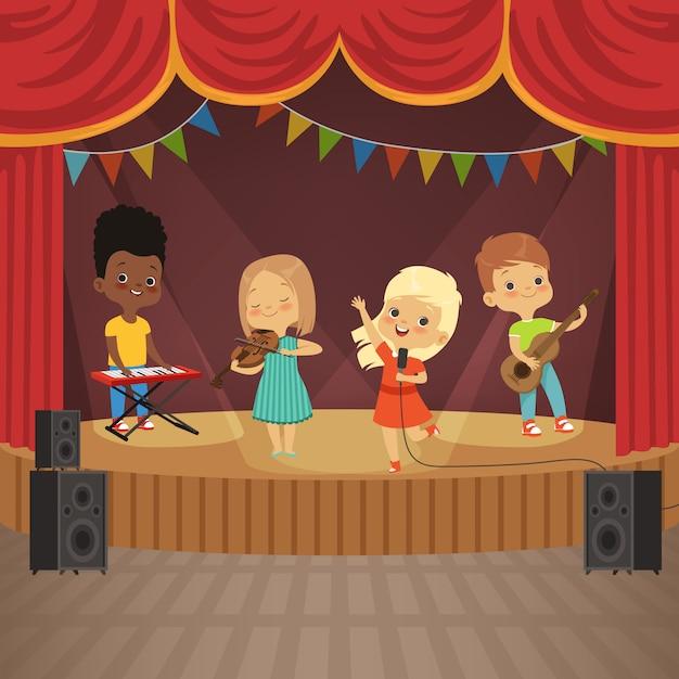 Music kids band on concert scene Premium Vector