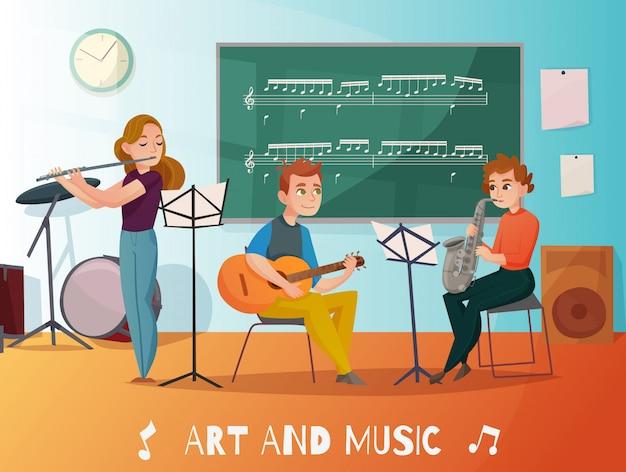 Music lesson cartoon illustration Free Vector