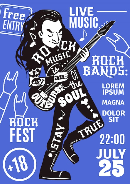 Music lettering silhouette poster rock Free Vector
