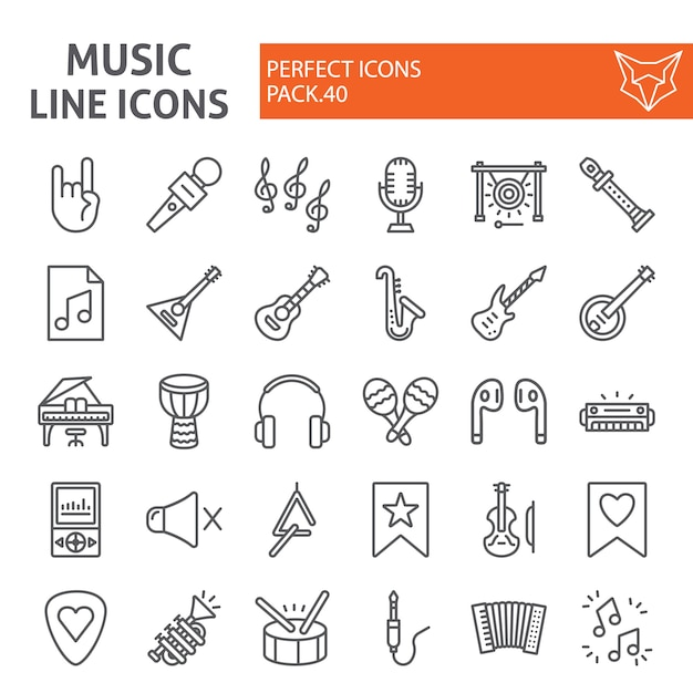Music line icon set, musical instruments collection Premium Vector