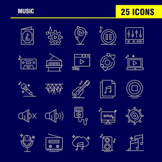 Music line icons set Premium Vector