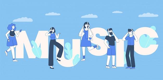 Музыка слушателей плоской иллюстрации. люди с наушниками, мальчики и девочки слушают музыку плоских контурных персонажей. любители музыки, досуга и спорта, музыка концепции слова баннер Premium векторы
