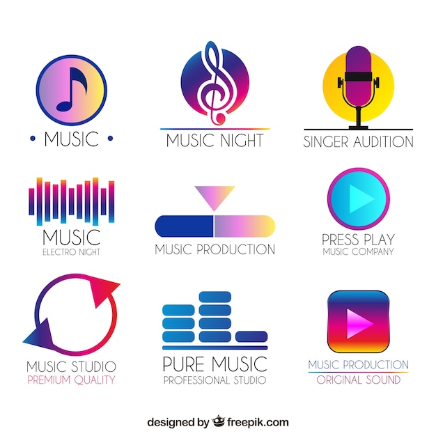 Music logo collection with gradient style Free Vector