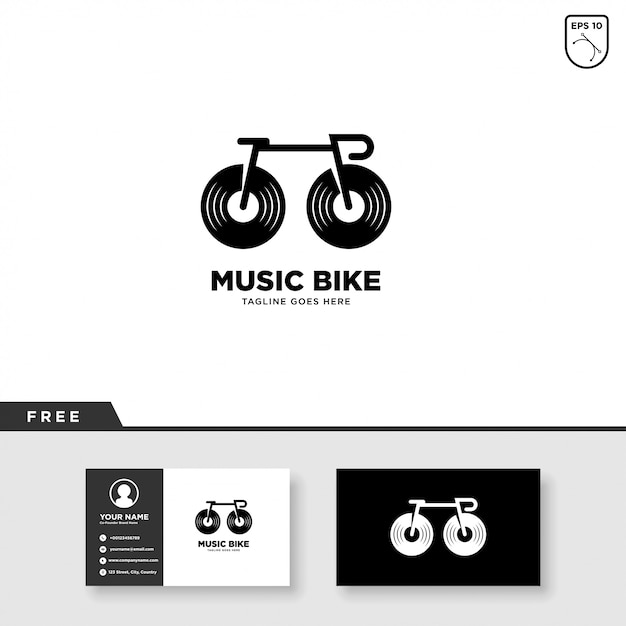 Music logo with bicycle and business card template Premium Vector