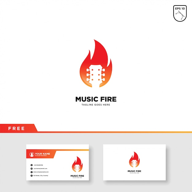 Music logo with fire and business card template Premium Vector