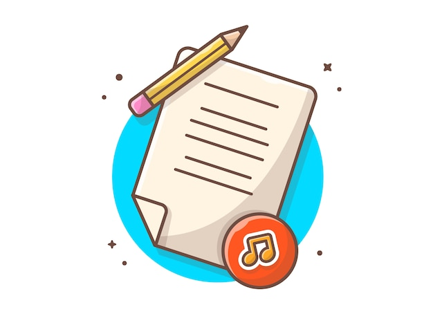 Music lyrics with pencil, tune and note of music  . music contract license white isolated Premium Vector