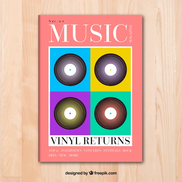 Music magazine cover template Vector | Free Download