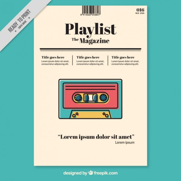 music magazine template with colored tape vector free download