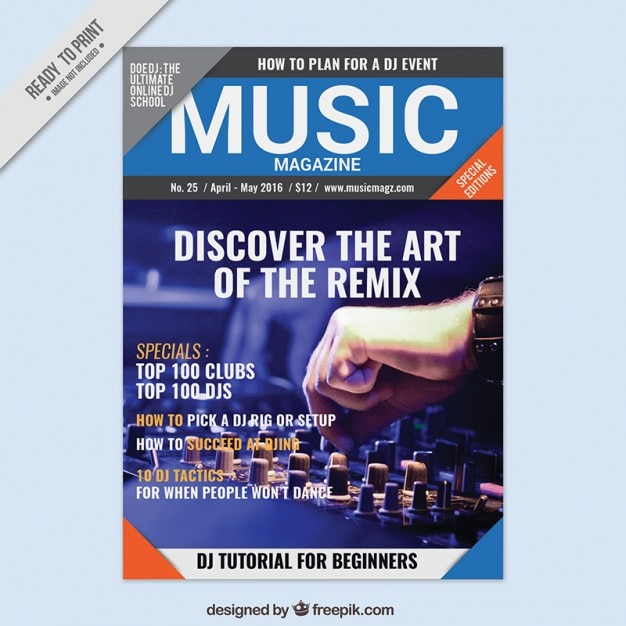 Music magazine with a picture cover  Free Vector