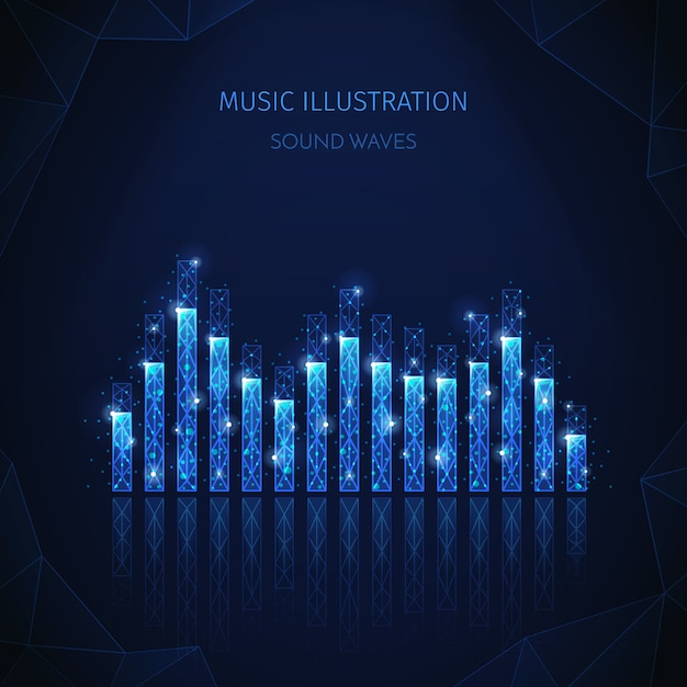Music media polygonal wireframe composition with editable text and image of equalizer stripes with shining particles Free Vector