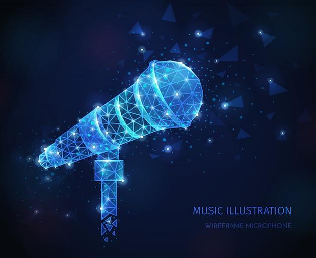 Музыкальная медиа полигональная каркасная композиция с текстом и блестящим изображением профессионального вокального микрофона на подставке Бесплатные векторы