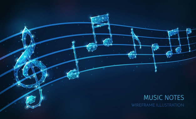 Music media polygonal wireframe composition with text and images of musical staff with clef and notes Free Vector
