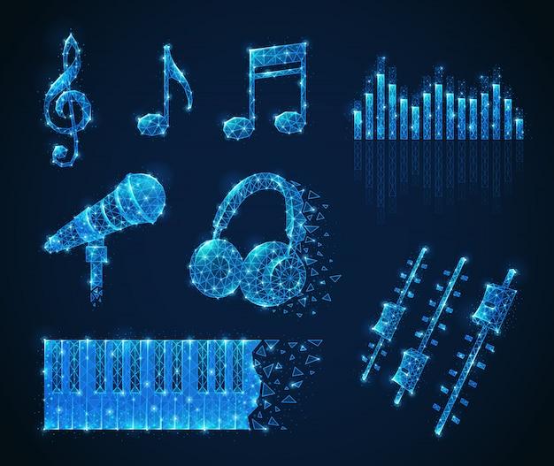 음악 노트 다각형 와이어 프레임 모양 노트 마이크 헤드폰 및 키와 격리 된 빛나는 이미지 설정 무료 벡터