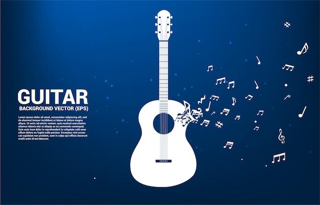Музыка мелодия нота танцы поток формы значок гитары. тема концерта песни и гитары. Premium векторы