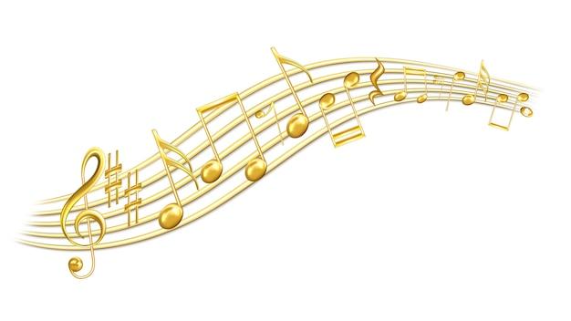 Мелодии, скрипичный ключ и резкость Premium векторы