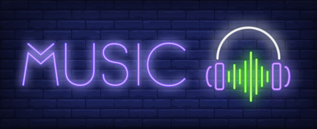 Music neon text with headphones and sound wave Free Vector