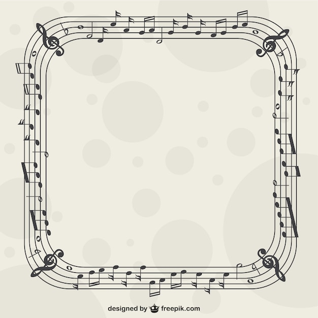 music nostes frame vector - Music Picture Frame