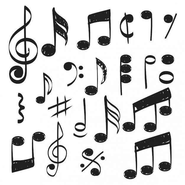 Нота. каракули эскиз музыкальный вектор рисованной картинки изолированные Premium векторы