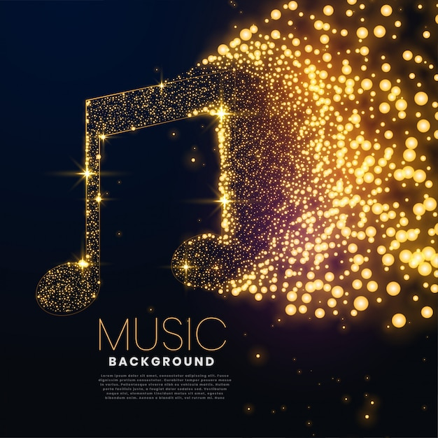 Music note made with glowing particles background design Free Vector