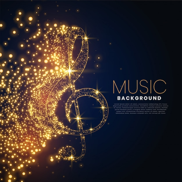 Music note made with glowing particles background Free Vector