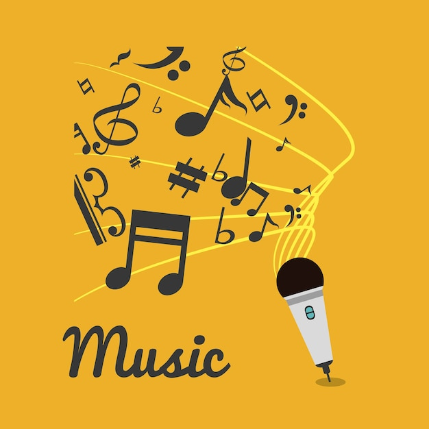Music note microphone sound Vector | Premium Download