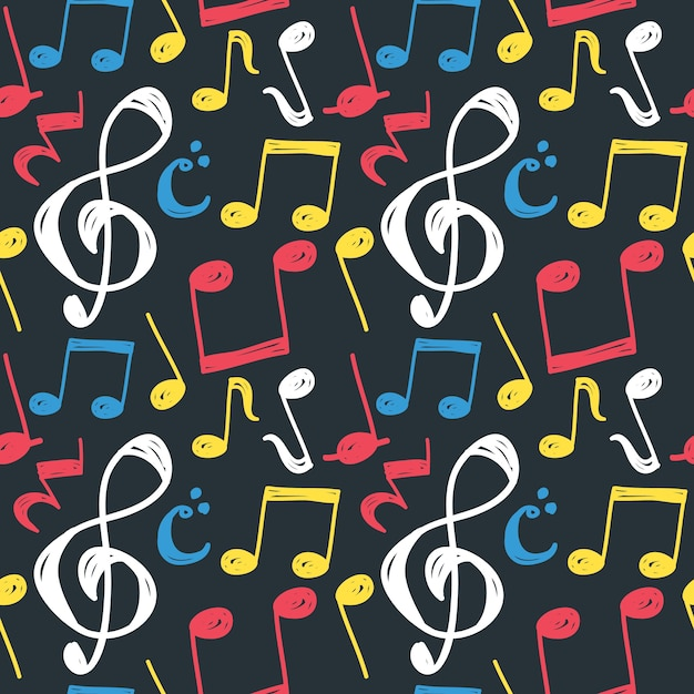 Music note seamless background Premium Vector