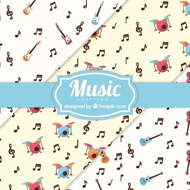 Music Notes And Instruments Pattern Background Vector Free Download
