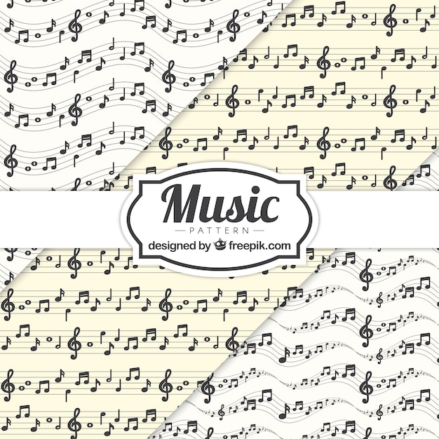 Music Notes And Stave Pattern Background Vector Free Download