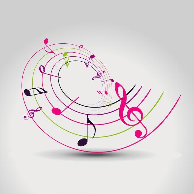 Вектор красочные ноты фон иллюстрация Бесплатные векторы