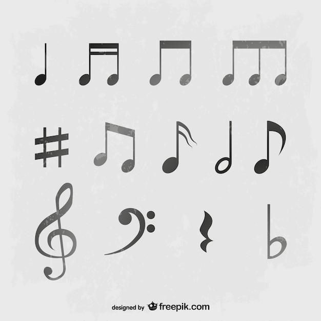Set vettore note musicali Vettore gratuito