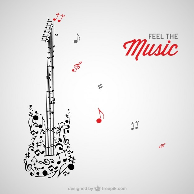 Music notes guitar Free Vector