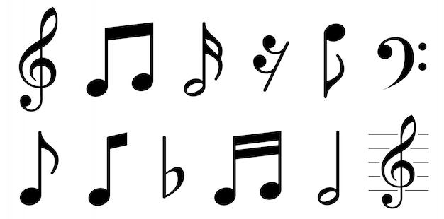 Music notes icons set. Premium Vector