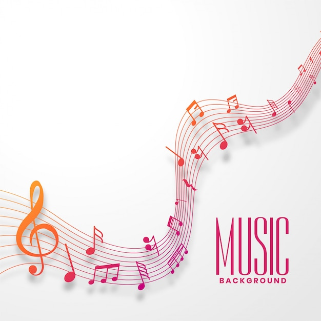Music notes line wave in colorful style design Free Vector